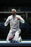 Мили Chamley-Уотсон фехтовальщика Соединенных Штатов состязаются в фольге команды ` s людей Рио 2016 Олимпийских Игр на арене 3 C Стоковая Фотография RF