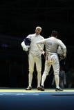 Мили Chamley-Уотсон l и Gerek Meinhardt фехтовальщиков Соединенных Штатов состязаются в фольге команды ` s людей Рио 2016 Олимпий Стоковые Изображения