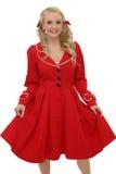 Милое белокурое с красным платьем Стоковая Фотография RF