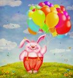 Милое летание кролика с красочными воздушными шарами к небу Стоковые Фото
