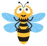 Милое летание пчелы на белой предпосылке иллюстрация штока