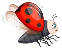Милое летание ladybug на белой предпосылке иллюстрация вектора