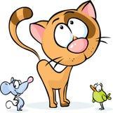 Милое животное вектора - шарж кота, мыши и птицы Стоковая Фотография RF