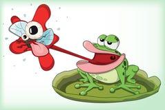 Милое звероловство лягушки вектора и midge еды бесплатная иллюстрация