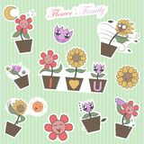 Милое искусство шипучки шаржа семьи цветка - вектор Стоковые Изображения