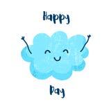 Милое облако с усмехаться рук Счастливая карточка дня Плоский стиль также вектор иллюстрации притяжки corel бесплатная иллюстрация