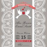 Милое приглашение венчания Шнурок границы Пейсли, голуби шаржа Vint бесплатная иллюстрация