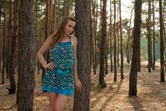 Милое платье элегантной женщины вкратце в лесе среди сосен Стоковые Изображения