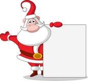 Милое рождество Санта Клаус с пустым знаком иллюстрация штока