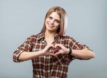 милое сердце девушки Стоковые Изображения