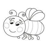 Милое смешное румяное летание пчелы, страница книжка-раскраски бесплатная иллюстрация