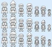 Милое собрание разнообразной диаграммы супергероев ручки или семей супергероя Стоковые Изображения
