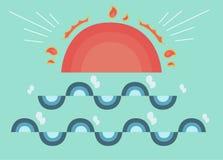 Милое солнце и волна Стоковое Фото