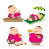 Милое тучное действие еды мальчика Стоковые Изображения