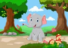 Милое усаживание слона младенца Стоковые Фото