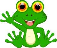 Милое усаживание шаржа зеленой лягушки Стоковое Изображение