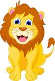 Милое усаживание льва шаржа Стоковые Фото