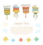 Милое флористическое собрание Doodle комплекта подачи весны Стоковая Фотография