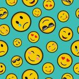 Милое emoji конструирует безшовную картину иллюстрация вектора
