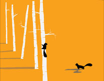 Милое squirel на ветви дерева Стоковое фото RF