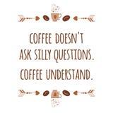Милой знамя нарисованное рукой типографское с положительным лозунгом о кофе украсило фасоли, чашку, стрелку иллюстрация штока
