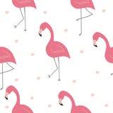 Милой картина нарисованная рукой безшовная с розовым фламинго Печать вектора Стоковое Изображение RF
