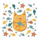 Милой кот нарисованный рукой Стоковые Фотографии RF