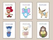 Милой нарисованный рукой день рождения открыток, партия, карточки детского душа, брошюры, приглашения с мексиканцем, слоном, олен Стоковые Изображения