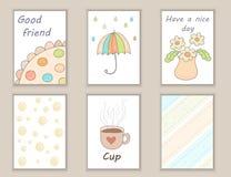 Милой нарисованный рукой день рождения doodle, партия, карточки детского душа, брошюры, приглашения с чашкой, цветки, зонтик, дож Стоковое Фото