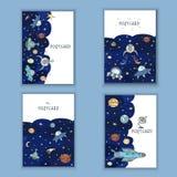 Милой нарисованный рукой день рождения doodle, партия, карточки детского душа, брошюры, приглашения с иллюстрацией космоса возраж Стоковое фото RF