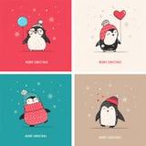 Милой пингвины нарисованные рукой установили - с Рождеством Христовым приветствия иллюстрация вектора