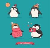 Милой пингвины нарисованные рукой установили - с Рождеством Христовым приветствия иллюстрация штока