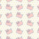 Милой розовой предпосылка животноводческой фермы свиней ретро изолированная картиной Стоковое Изображение RF