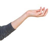 Милостыни - жест рукой с приданной форму чашки ладонью Стоковые Изображения