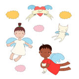 Милые ангелы и иллюстрация кота иллюстрация штока