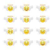 Милые ангелы смайликов иллюстрация вектора
