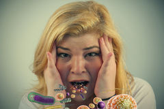 Милые бактерии рта девушки Стоковая Фотография RF