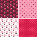 Милые безшовные картины влюбленности в пинке и красном цвете Стоковые Изображения RF