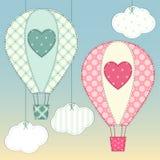 Милые горячие воздушные шары как ретро applique ткани в затрапезном шикарном стиле иллюстрация вектора