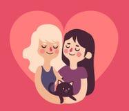 Милые девушки в влюбленности внутри сердца Стоковое Фото