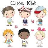 Милые девушки и мальчики шаржа иллюстрация штока
