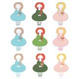 Милые девушки куклы иллюстрация штока
