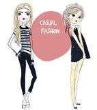 Милые девушки моды Стоковое Изображение RF