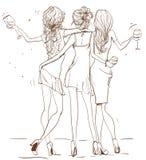 Милые девушки шаржа Стоковые Фото
