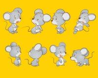 Милые действия шаржа мыши Стоковые Изображения