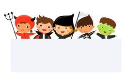 Милые дети нося костюм изверга хеллоуина Стоковое Изображение