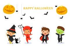 Милые дети нося костюм изверга хеллоуина Стоковая Фотография RF
