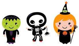 Милые дети хеллоуина Стоковая Фотография