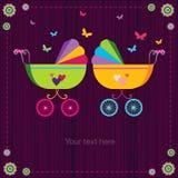 Милые детские сидячие коляски иллюстрация штока