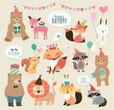 Милые животные дня рождения шаржа иллюстрация вектора